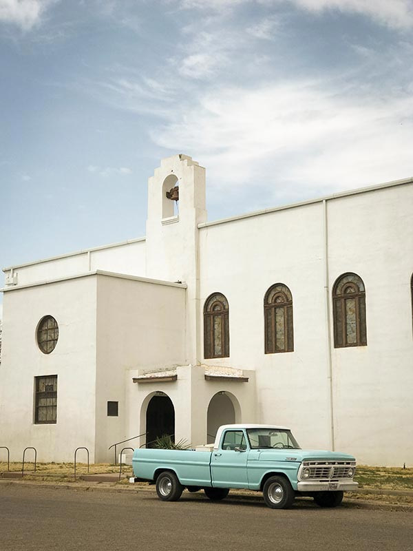 Blue pick up church marfa texas