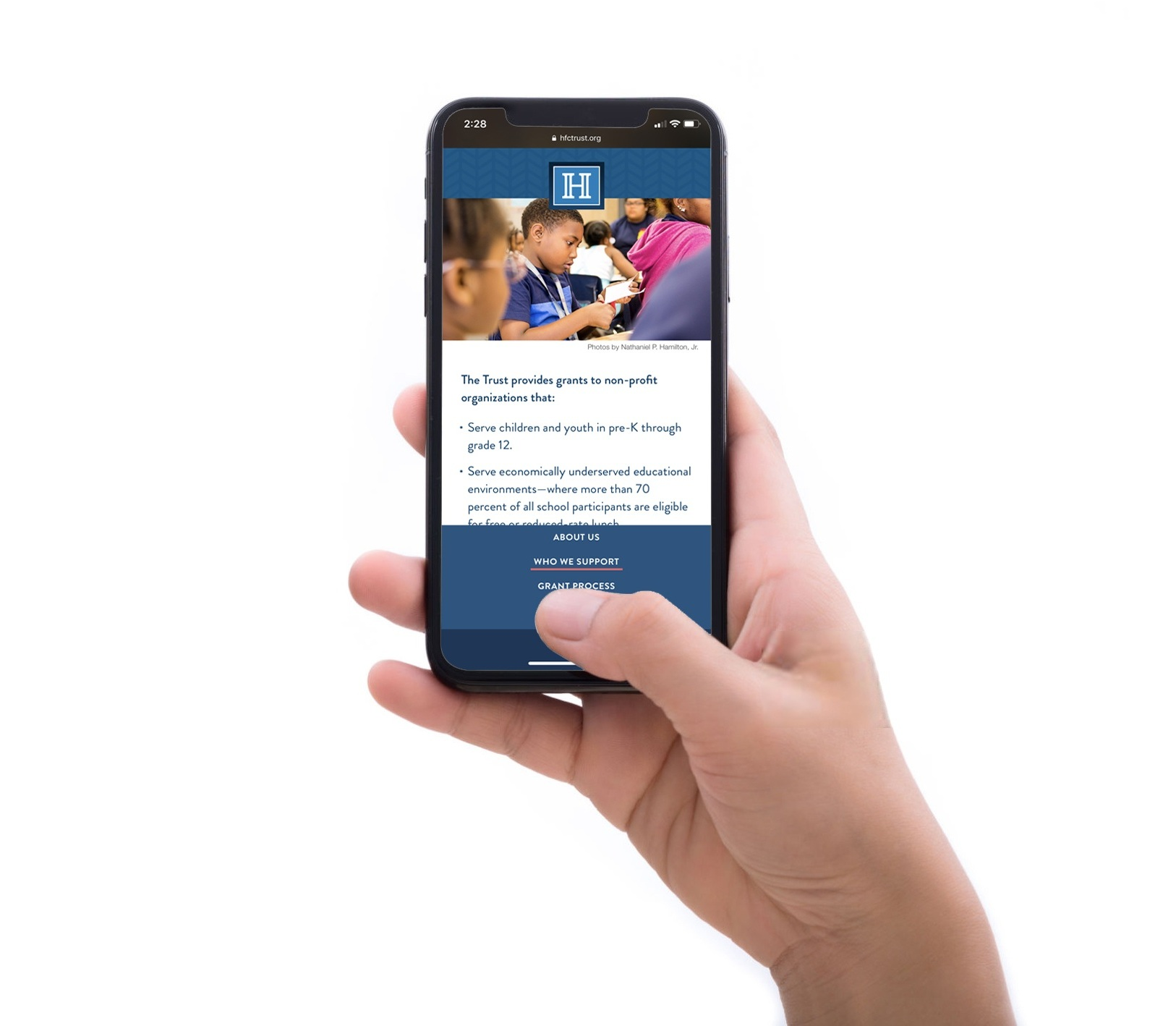 A bottom-loaded menu makes navigation easier on mobile devices.