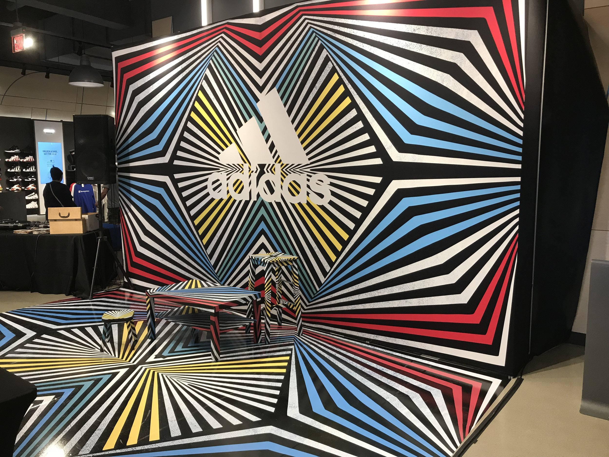 Adidas x Finish Line - Immersive in store installation [Design by LK MNDD, vinyl floor print, wrapped furniture and display wall