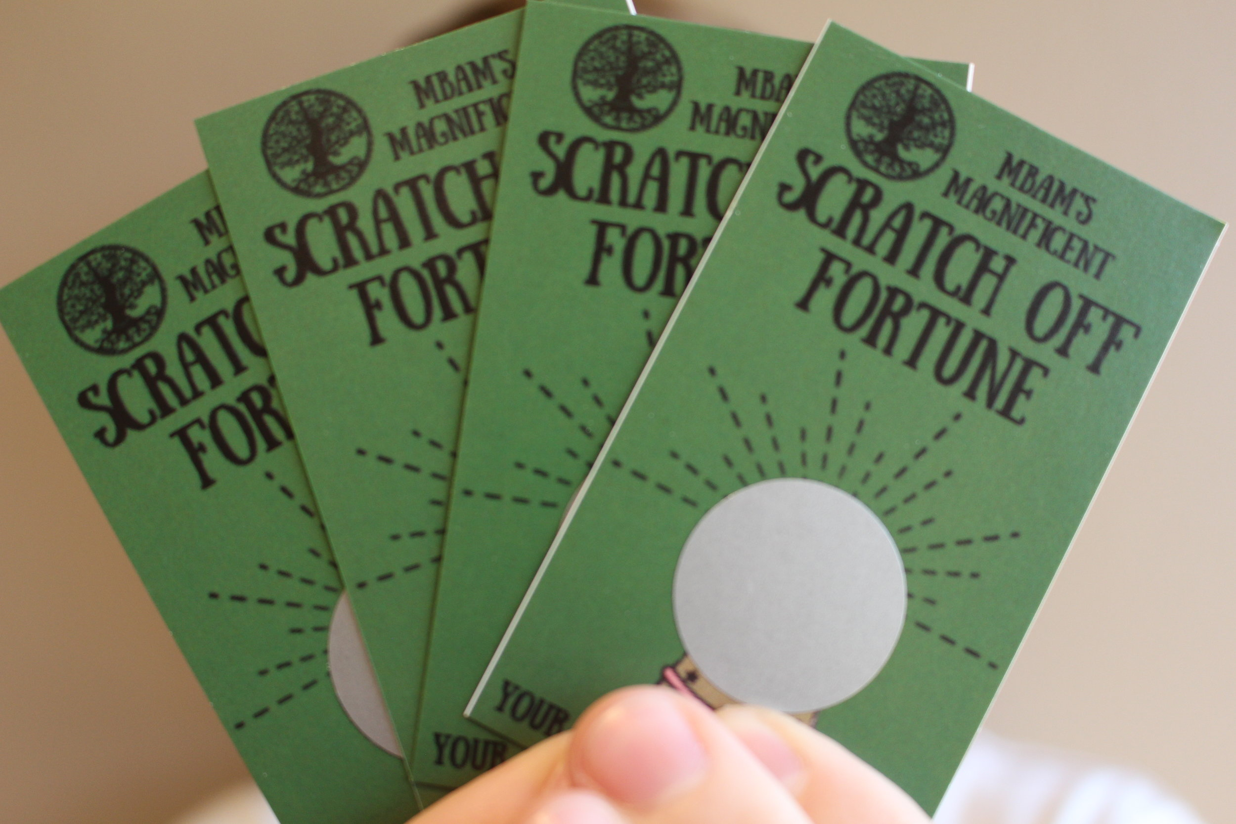 When you open your bag of purchases, inside there will also be a scratch card.Scratch to see your Magnificent Fortune! -