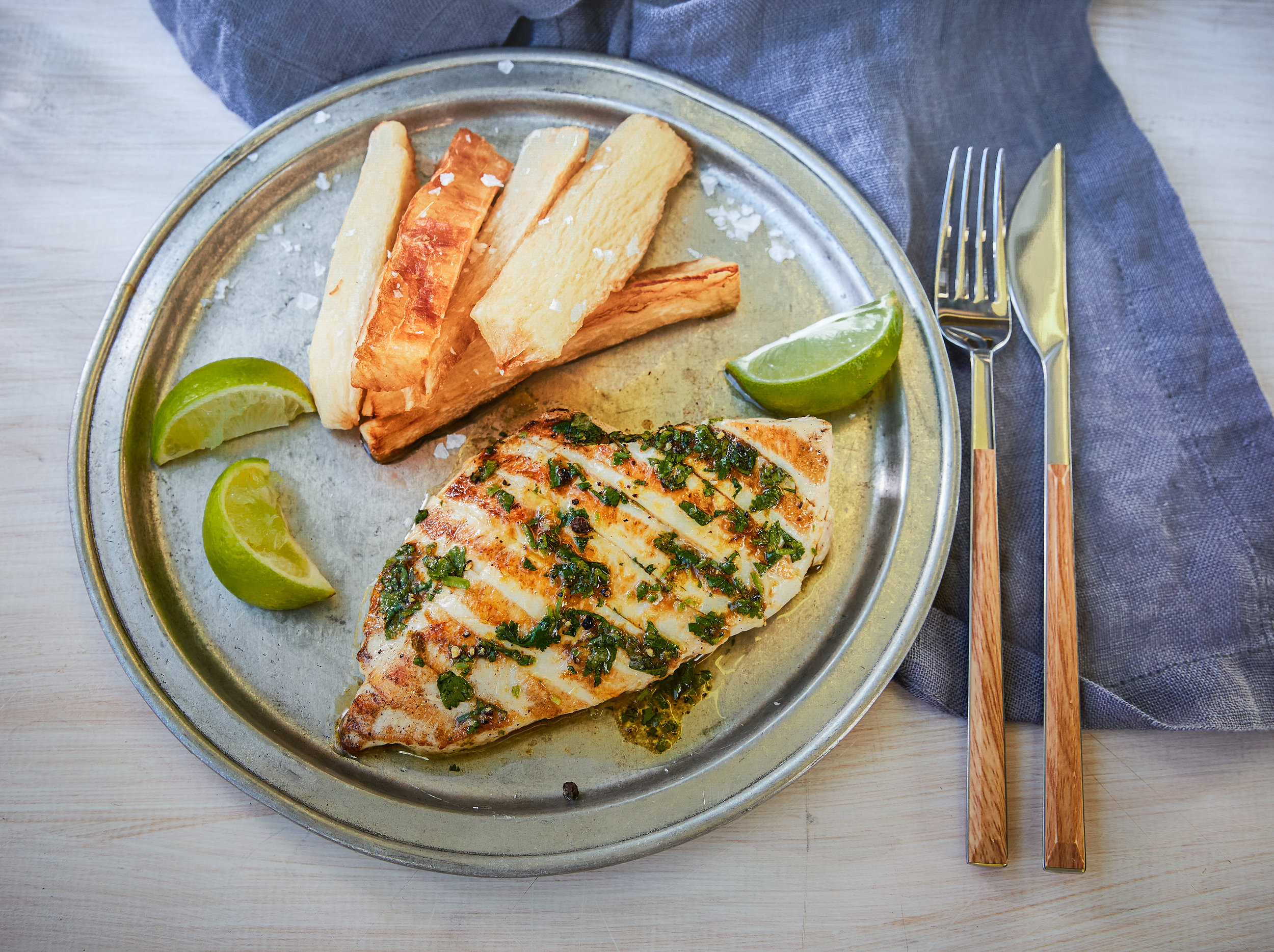 grilled chicken with yuca fries and chimichurri