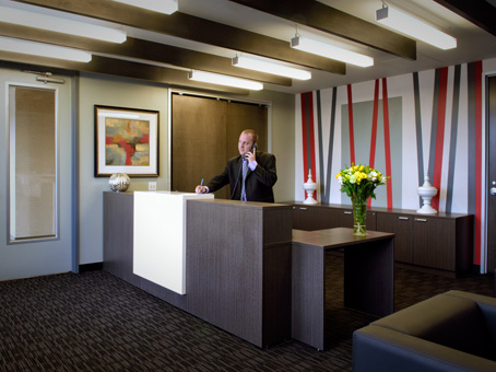reception area with modern desk