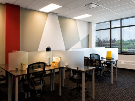 coworking office setup with exterior windows
