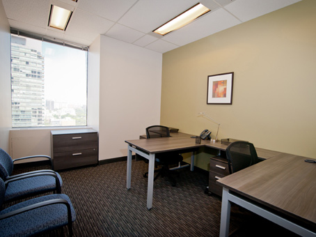 Triple office with exterior window