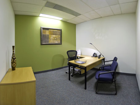 internal office with contrast green wall