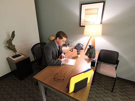 internal office and man working