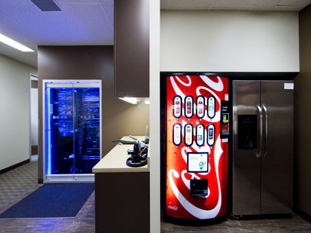 vending machine and server with blue lights