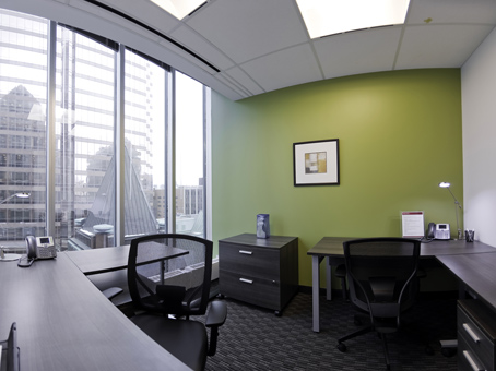 office set up for two with window and city view