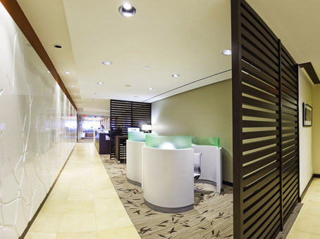 business lounge area with thinkpods