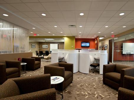 lobby with leather sofa