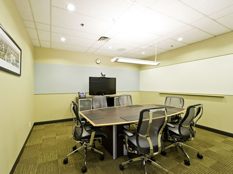 a small table in a quit meeting room