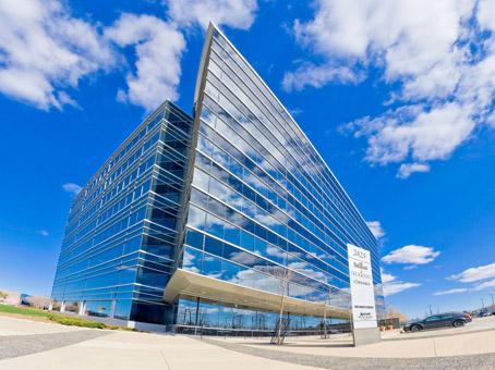 a unique shape full glass building view
