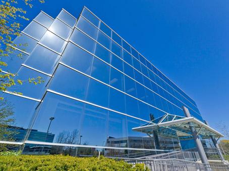 full glass sky blue building