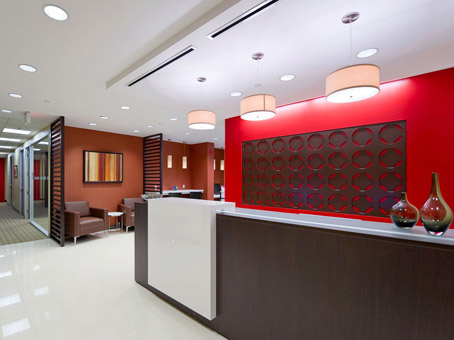 lobby with a red wall background