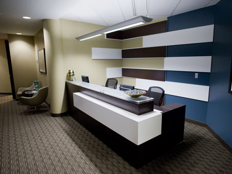 reception area with white reception desk