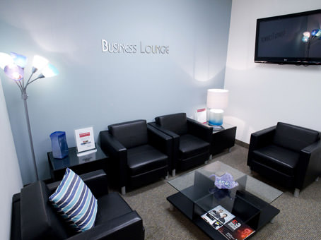 business lounge with black leather chairs