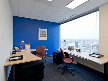 wide window view with a blue wall