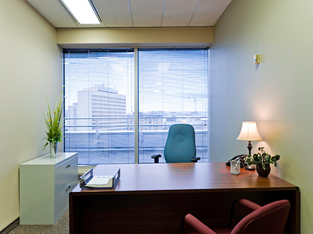 nice & quite look of an office with a wide window view
