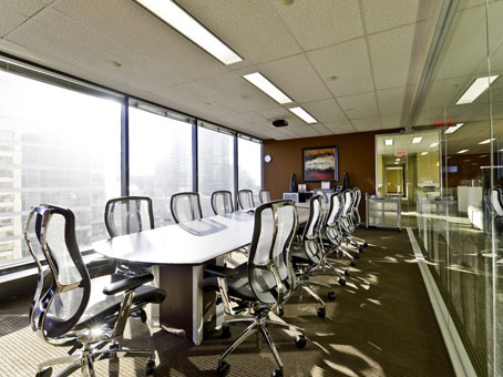long table and a chair in a big and wide meeting room