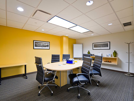 small table in a wide space meeting room