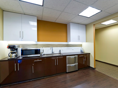 kitchen counter with microwave