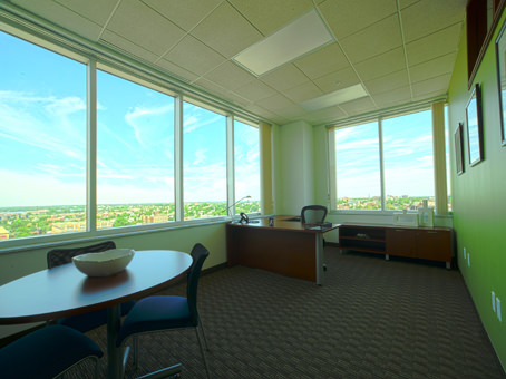 wide window view with desks
