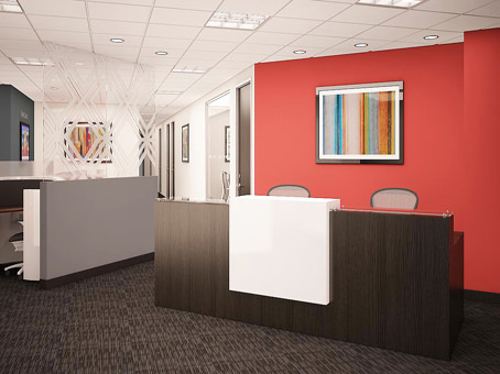 receptionist desk with paitnings
