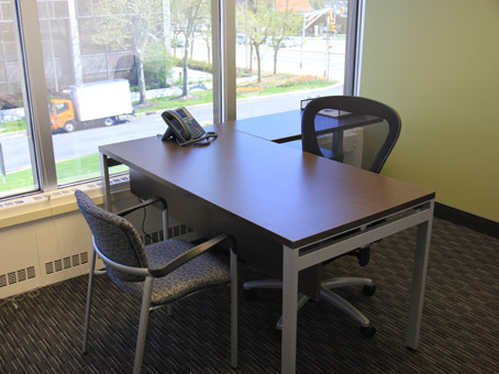 desk with chairs window