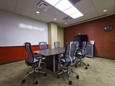 red wall in the meeting room