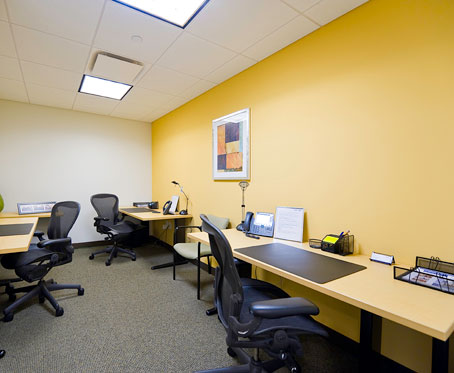 employee stations with wall painting