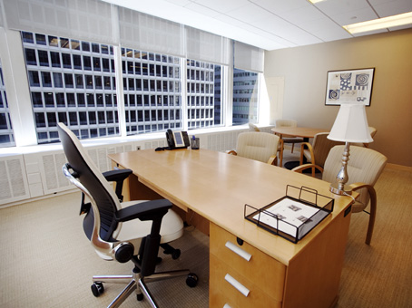 executive office with a wide window view