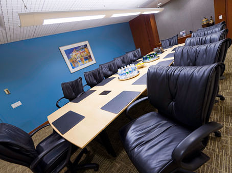 conference room with a long wooden table