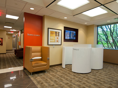 orange & beige reception wall