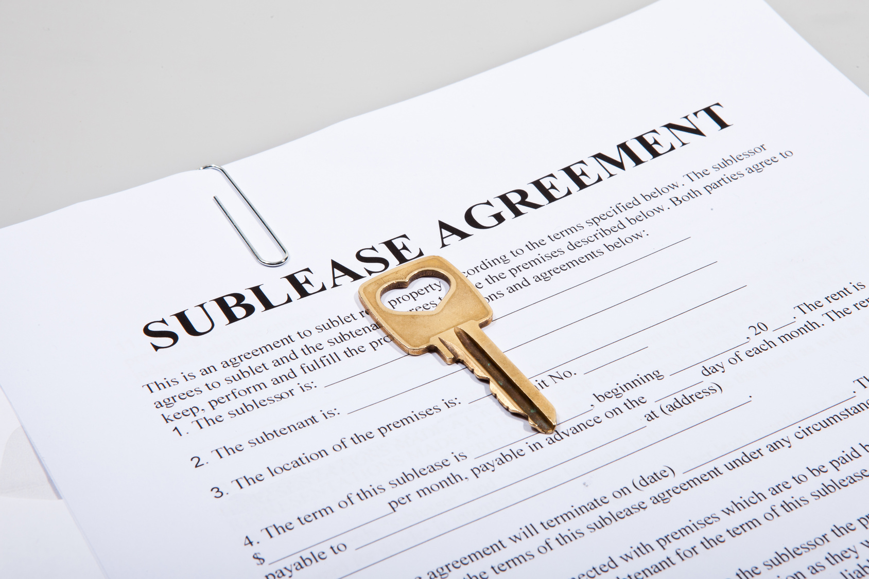 Sub lease agreement