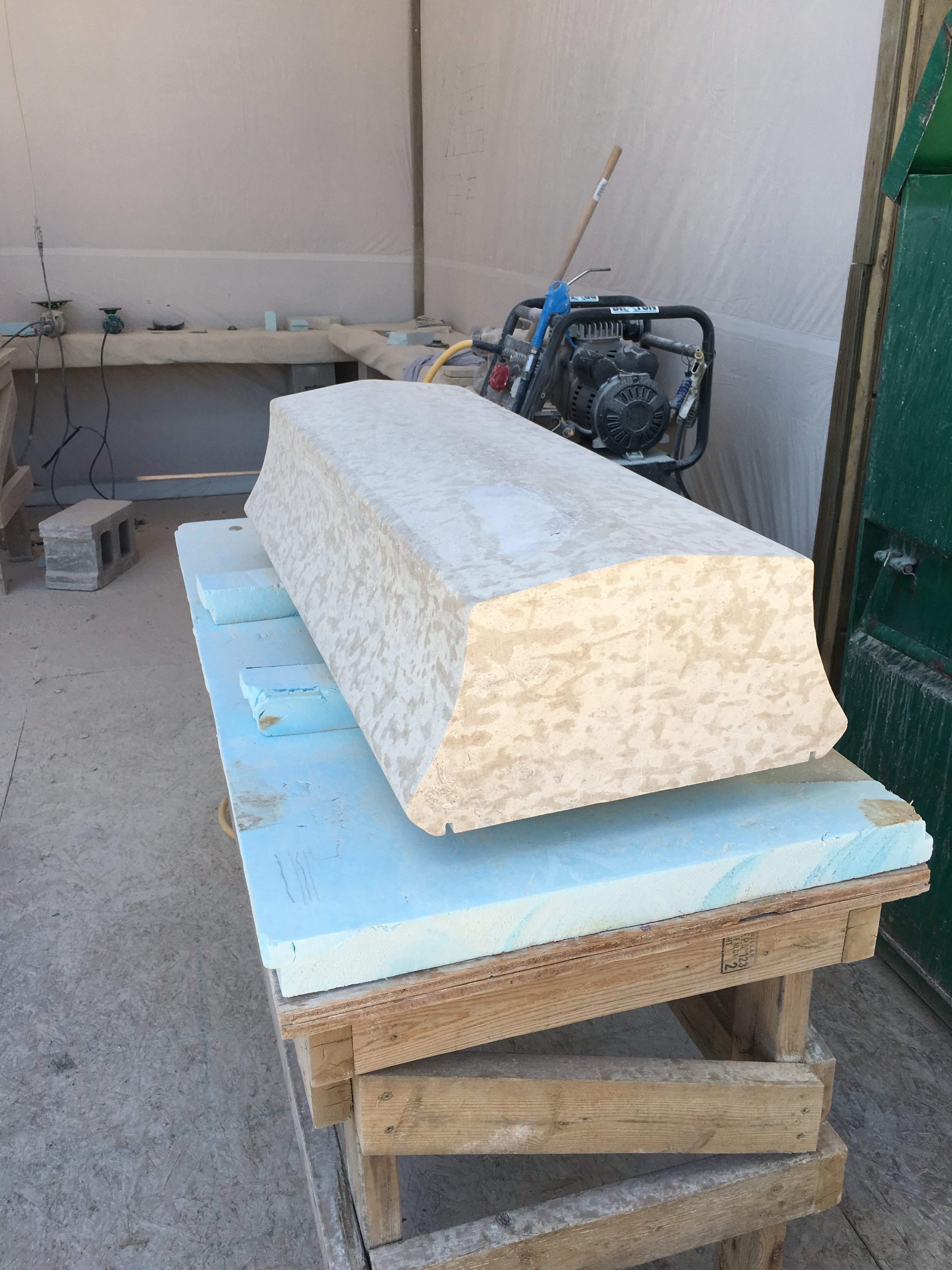 Hand Carved Tyndall Coping.JPG