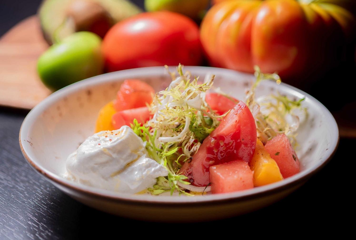 Burrata with Watermelon + Black Garlic from Chef Jean Delgado