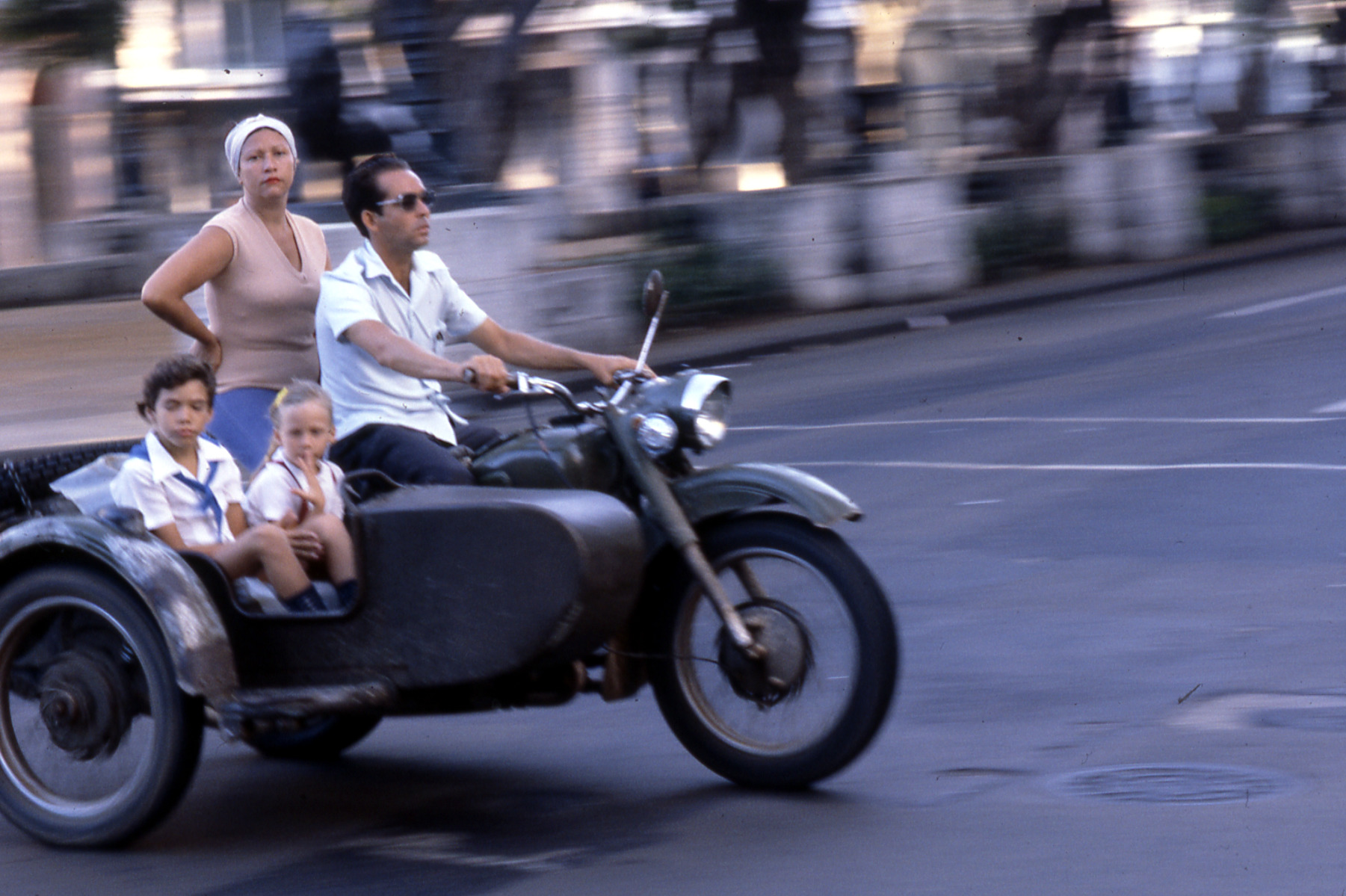 Cuban family on motorcycle