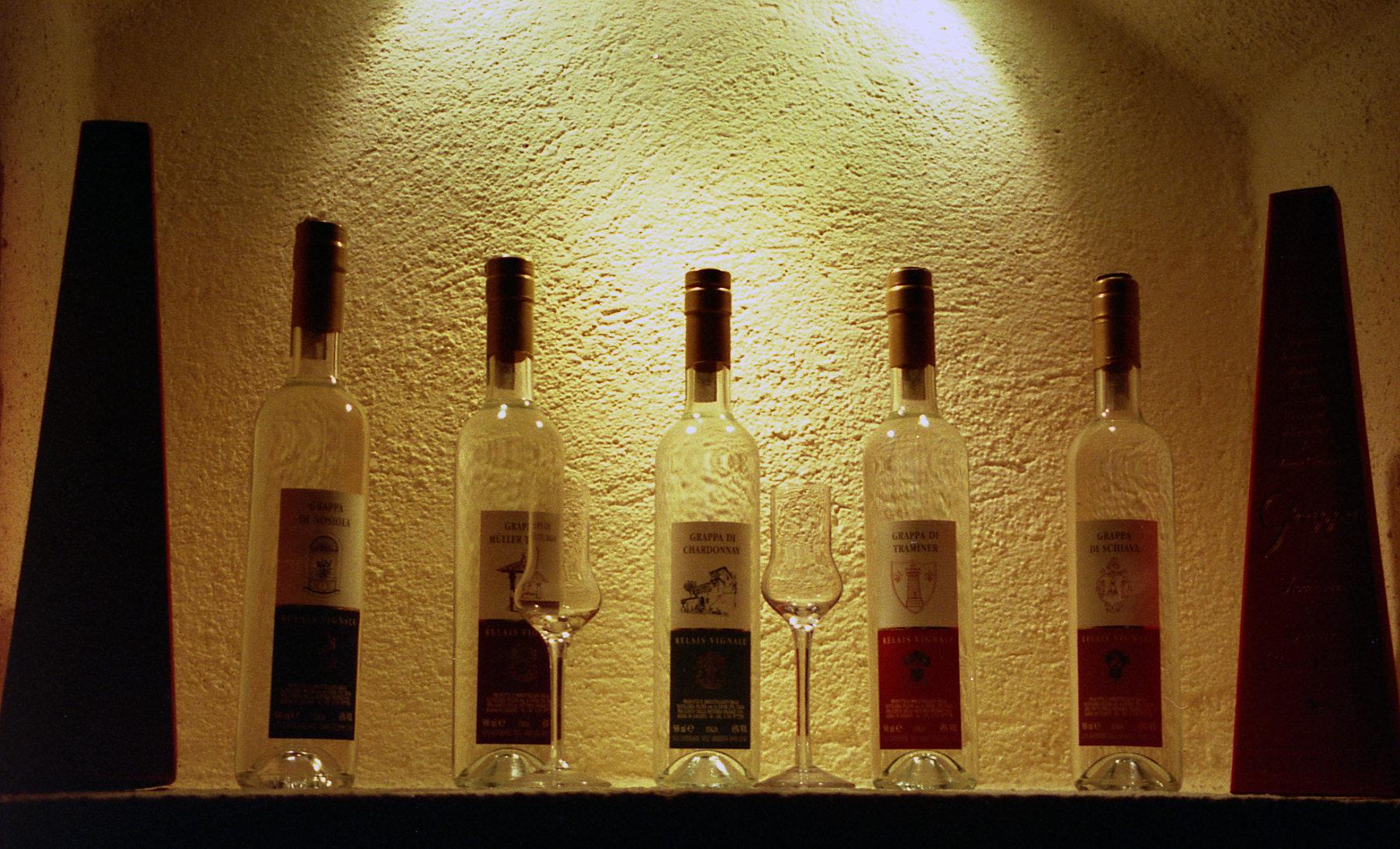 Wine bottles in restaurant
