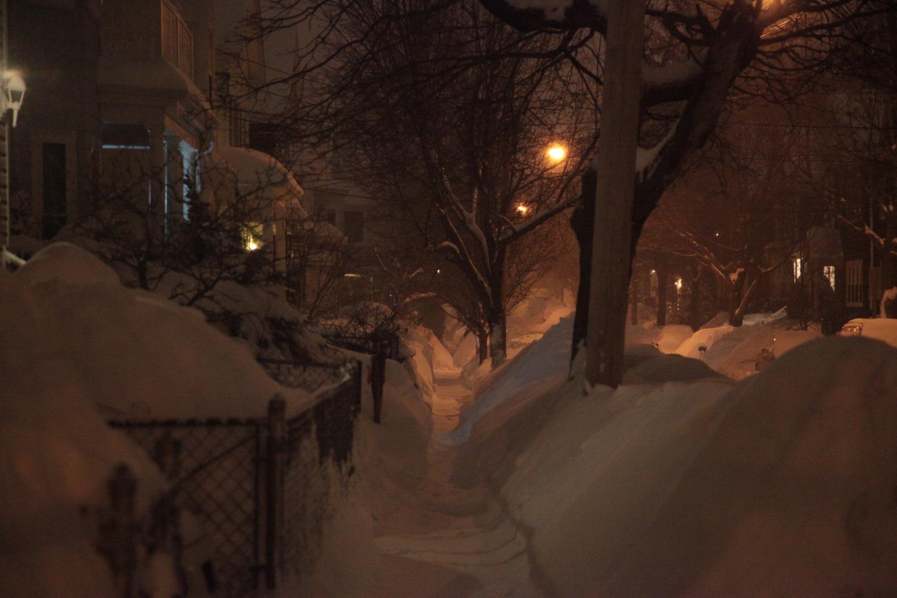 Irving Street, Somerville night snow