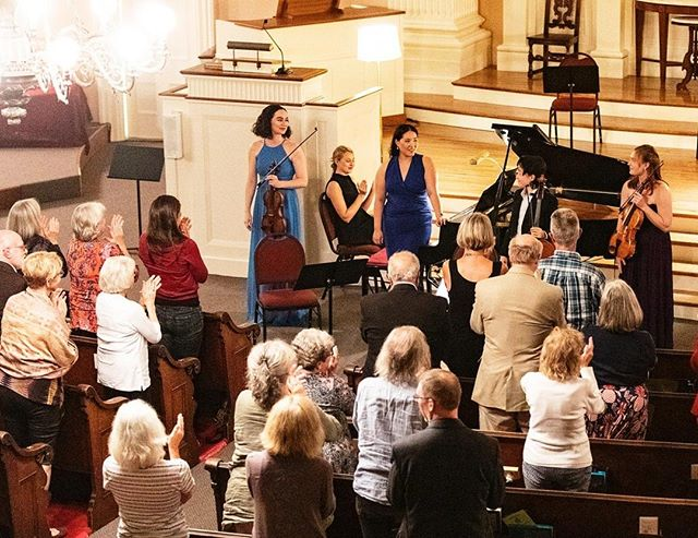  Can you feel the energy? Audience gives a standing ovation to NCS after the passional Brahms Piano Quartet in G Minor performance 🎻👏 ------------ Photo: Ron St. Jean Photography | Pictured: Francesca dePasquale, Bethany Hargreaves, YiQun Xu, and Yoon Lee   #noreechambersoloists #noree #concert #portsmouth #newhamphire #nh #community #share #music #love #passion #brahms #talent #beauty #photography #performance #classicalmusic #chambermusic #pianoquartet #piano #violin #viola #cello #church #audience #stage #tour  