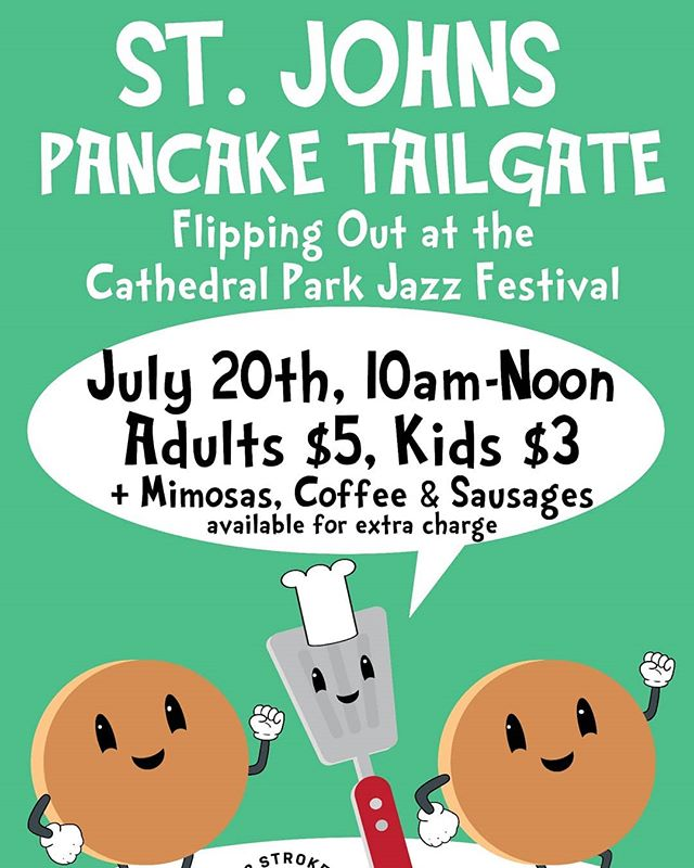Please join the St John's Boosters Club for a Mimosa and Pancake feed on Saturday, July 20th, from 10am-12pm in the Beer Garden! Tickets are $5 for Adults, $3 for children. Mimosa's, juice and sausage extra. #pancakes #mimosas #cathedralpark #underthebridge