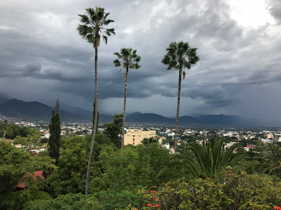 The Oaxaca valley with afternoon storms.