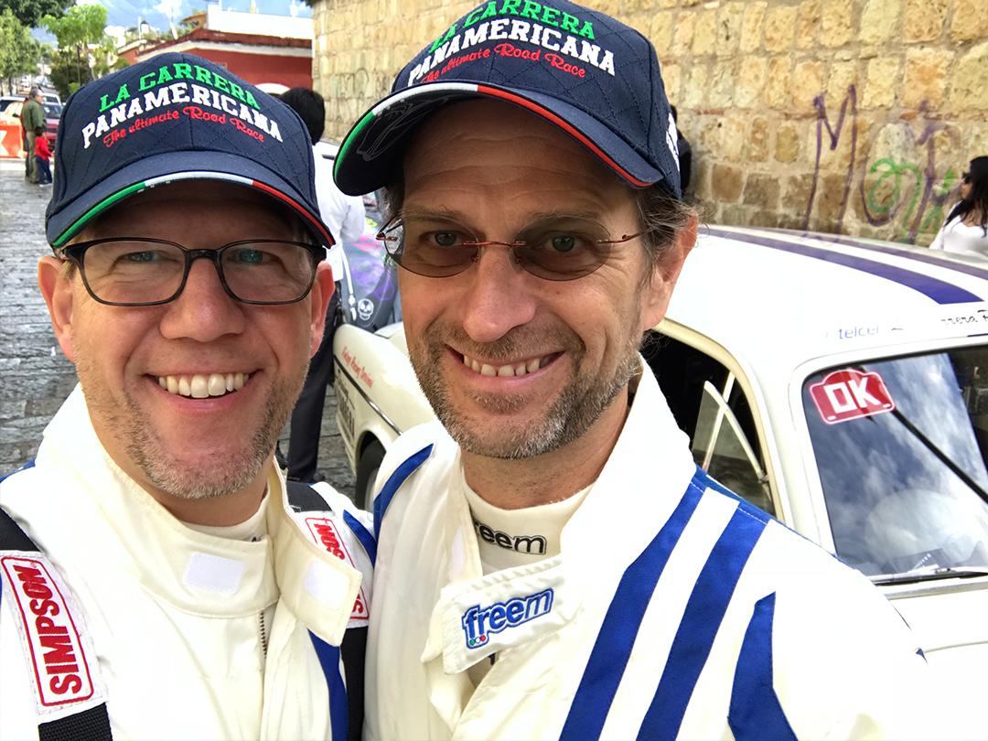 Jeff and Chris Mason at the start of La Carrera Stage 1  in Oaxaca.