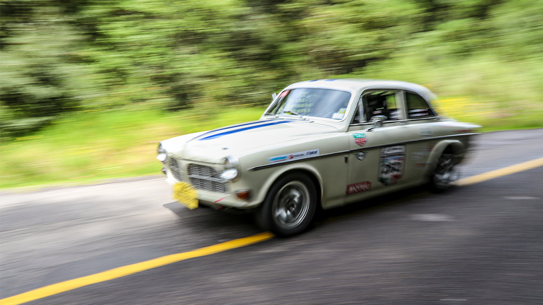 1965 Volvo Amazon rally car racing to Queretaro, MX stage 3 of La Carrera Panamericana. | Photo by  Godet Studio