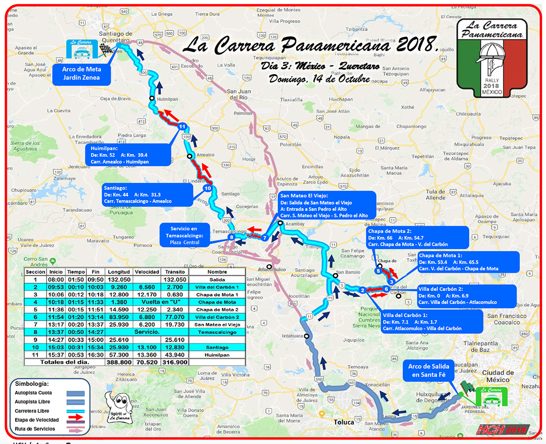 Map of Stage 3 Mexico City to Queretaro