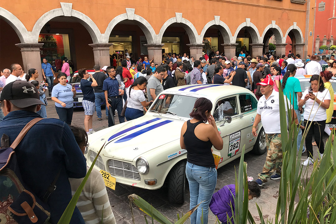 Our Volvo rally car in the central plaza in Queretaro  at the end of La Carrera Panamericana Stage 3