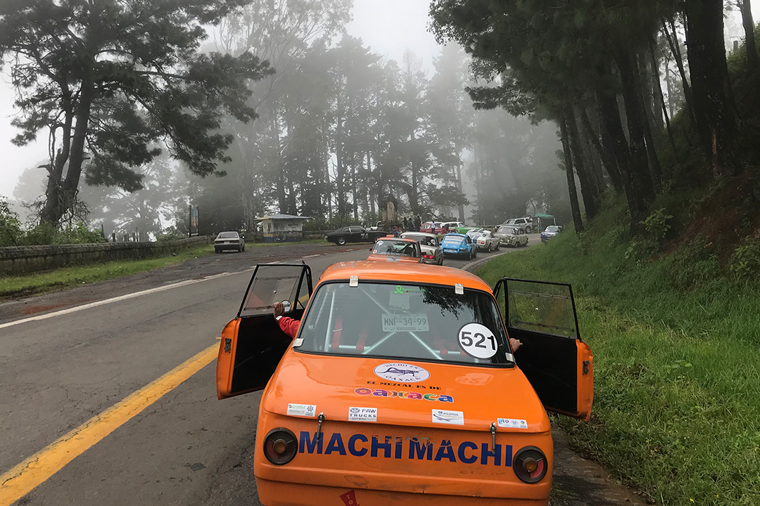 A misty, foggy day on Mil Cumbres in La Carrera Panamericana.