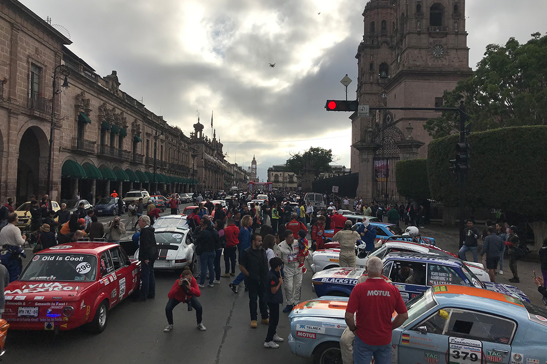 All the Carrera cars at the Catedral de Morelia.