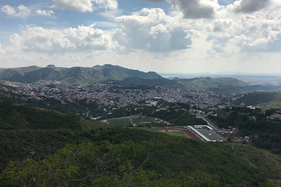 The city of Guanajuato below the start of the afternoon speed sections on stage 5 of La Carrera Panamericana.