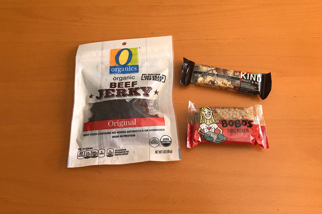 When racing La Carrera you've got to keep yourself fed all day. Beef jerky, nut bars, and oar bars are what we ate in the car.